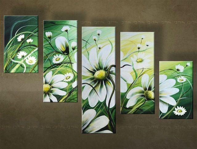 Ručně malovaný obraz KVĚTINY 5 dílný 5319FA