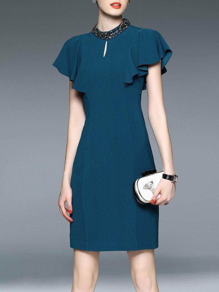 #AdoreWe StyleWe Womens - LONYUASH - Blue Sheath Beaded Ruffled Sleeve Elegant Midi Dress - AdoreWe.com