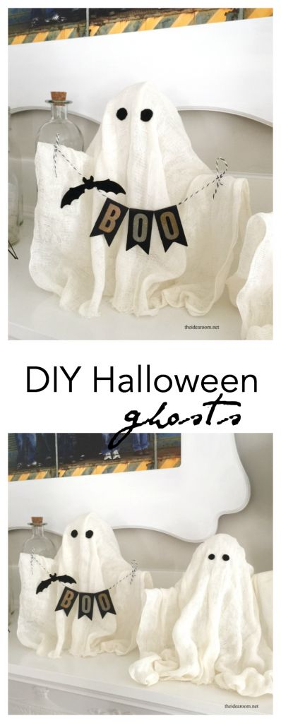 DIY-Halloween-Ghosts Create some fun DIY Halloween Ghosts for your Halloween Decor or Halloween Party this year.  The Idea Room