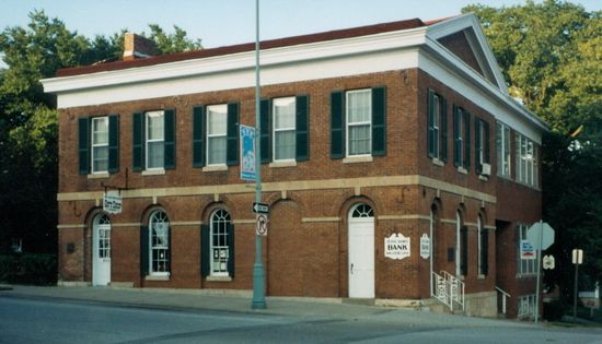 The Jesse James Bank located in Liberty, Missouri, just northeast of Kansas City was the site of the nation's first successful daylight peacetime bank robbery. / Missouri