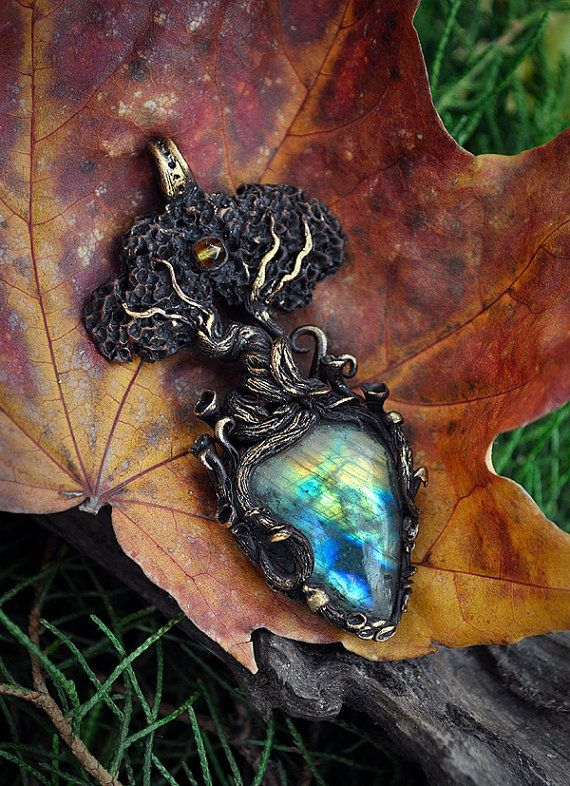 Enchanted tree necklace  tree pendant  tree of life labradorite magical jewelry polymerclay