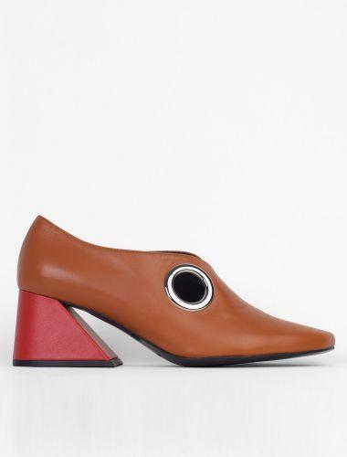 Rejina Pyo x Yuul Yie Contrast Block Heels Camel/Red