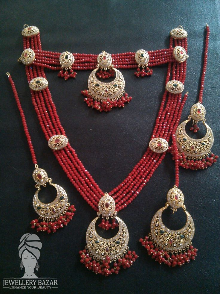 POLKI MAALA BRIDAL SET Studded With Ruby Beads Includes: Necklace, Maala, Earrings & Tikka Available in different colors & different designs CODE: CP 003 Price: 5450 ( Cash On Delivery ) For order inbox us or CALL us at :  0312-8748677 Whatsapp: 0345-2613601
