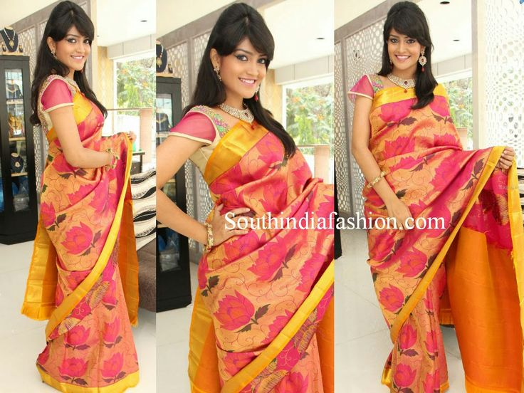 Gold color lotus prints uppada silk saree with yellow border teamed up with designer blouse by Trisha Trends. For price inquiries contact: trishatrends@gmail.com Related PostsShamili in Trisha Trends Saree GownBridal Silk Sarees by Trisha TrendsGreen Kanjeevaram SareeGorgeous South Indian Wedding Sarees by Trisha Trends