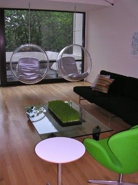 I Can Just Imagine The Amazing Parties And Conversations Possible In This  Delightful Mid Century Modern Vibe Of A Room! Not One, But Two Hanging  Bubble ...