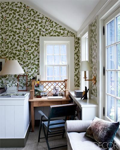 Wallpaper in this master bedroom is by Sandberg.