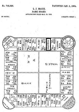 Elizabeth Magie alongside her original patent drawing for The Landlord's Game, the first precursor to Monopoly, which she designed to draw attention to the unfairness of U.S. economics.