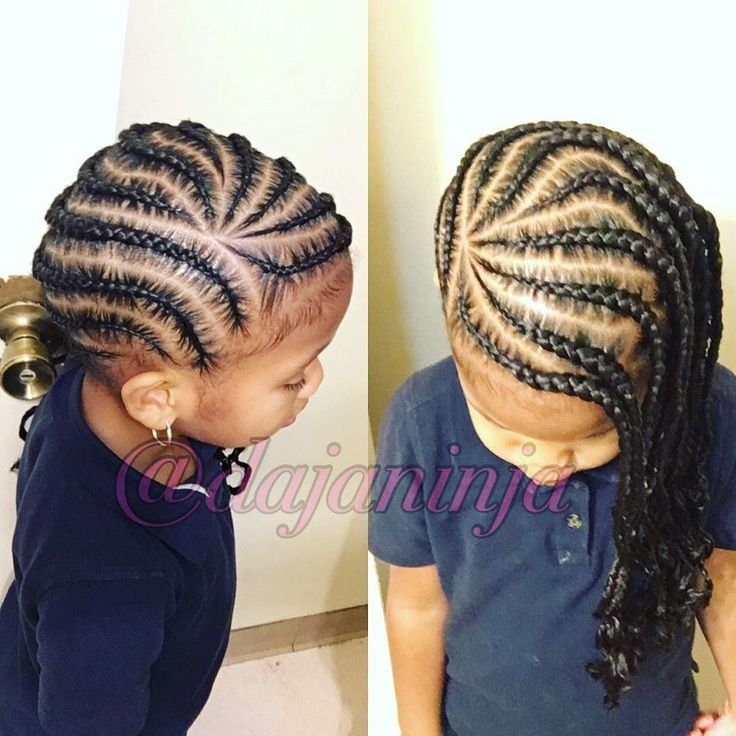 Kid styles ! Cornrows to the side ✨