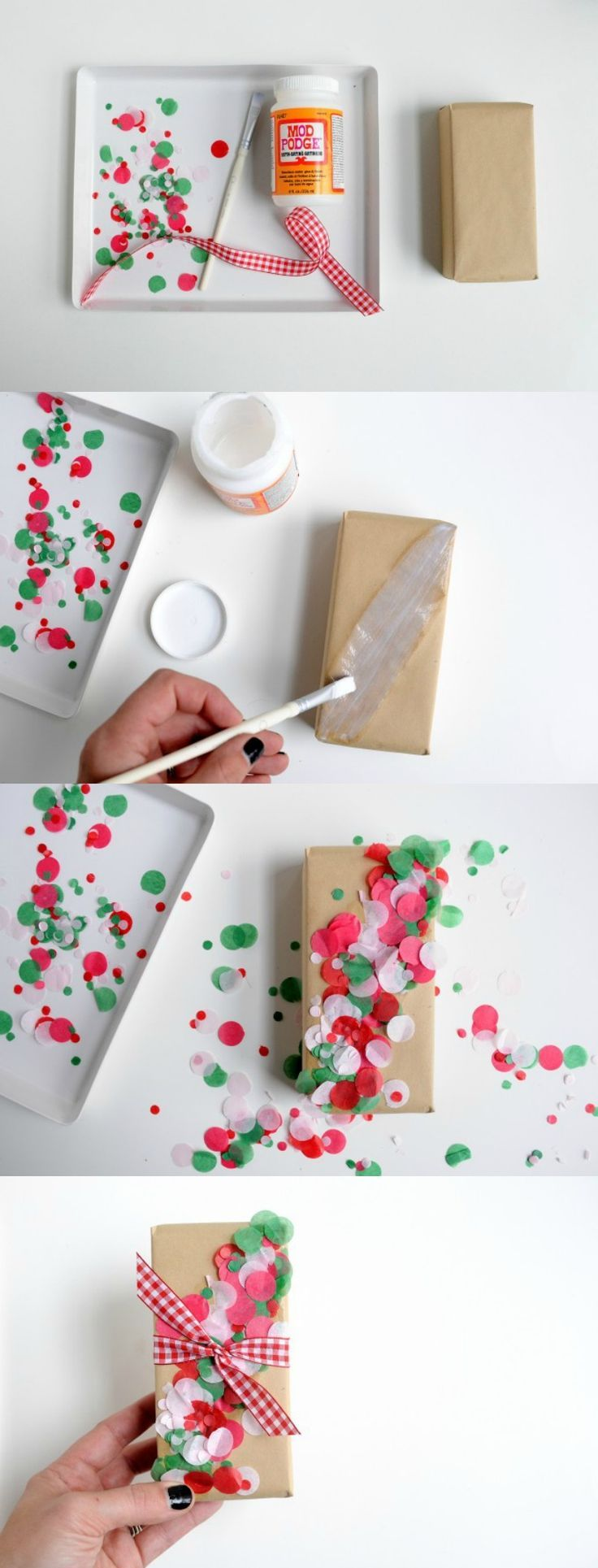 If you tend to do things a little last minute like me, here's a unique and creative idea for embellishing wrapped gifts. This DIY confetti gift wrap is so fun and colorful for Christmas. This is one of those ideas you'll want to adapt to birthday and beyond.