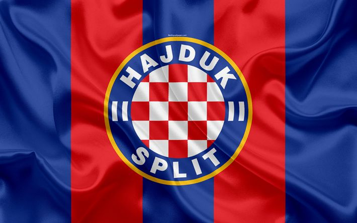 Download wallpapers HNK Hajduk Split, 4k, Croatian Football Club, emblem, logo, football, flag, HNL, Croatian Football Championship, Croatian First Football League, Split, Croatia, Hajduk Split FC