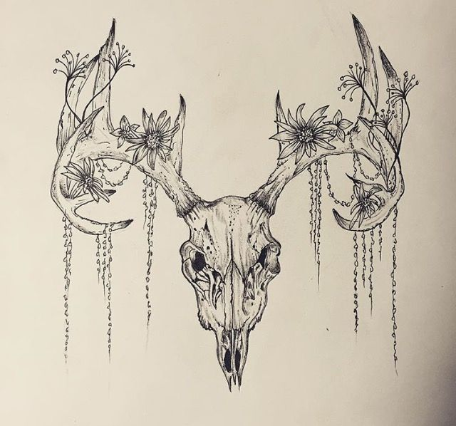 deer skull tattoo tattoos pinterest deer skull tattoos deer skulls and tattoo. Black Bedroom Furniture Sets. Home Design Ideas