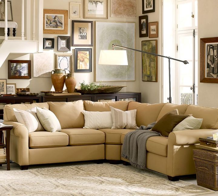 Buchanan Roll Arm Upholstered Curved 3 Piece L Shaped Sectional With Wedge