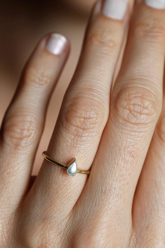 Beautiful & simple pear shaped pearl ring. This is a listing for 14k yellow gold pear shaped pearl ring. This item is handmade . It is a unique piece
