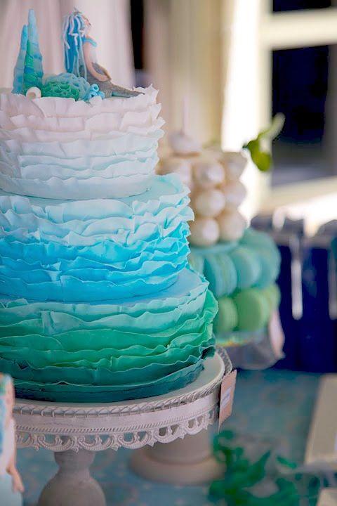 Mermaid birthday party cake idea. Little mermaid.