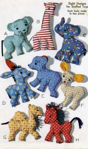 Vintage-Stuffed-Toy-PATTERN-1078-Easy-to-Sew-Animals-Giraffe-Horse-Elephant-Bear