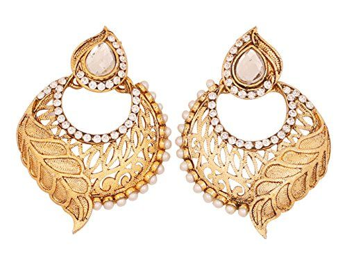 Touchstone Indian Bollywood young choice maroon beads designer hoop earrings for women in gold tone H6OiAph