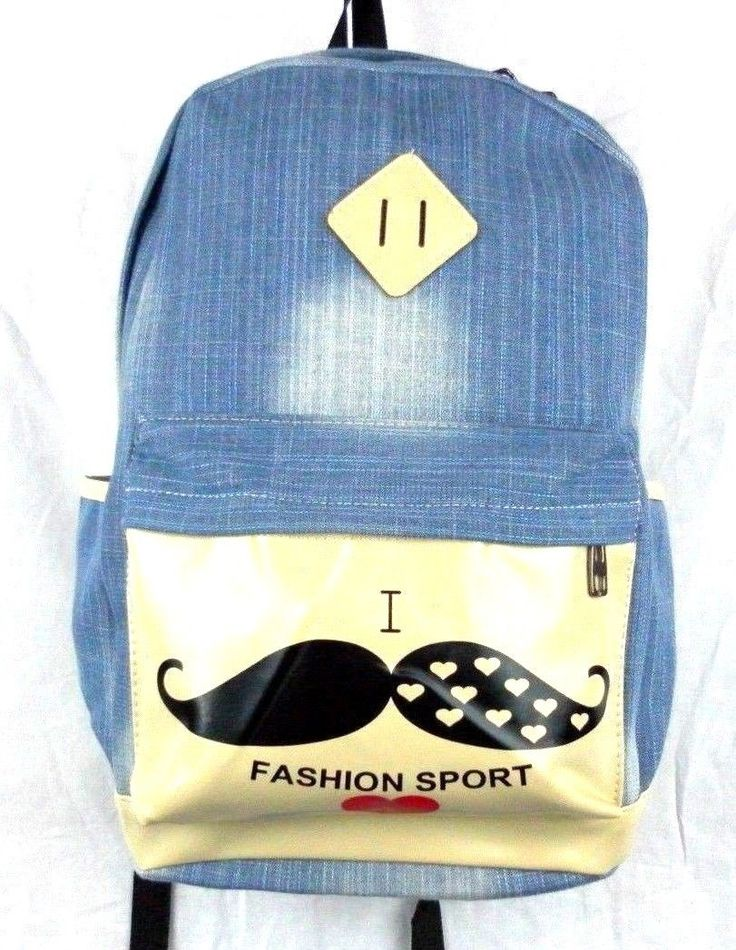 Canvas Denim Backpack French Mustache School Bag Travel Rucksack