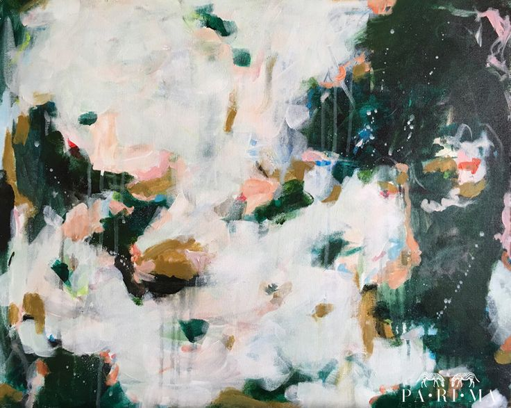 Olive by Parima Studio // green pink abstract acrylic painting