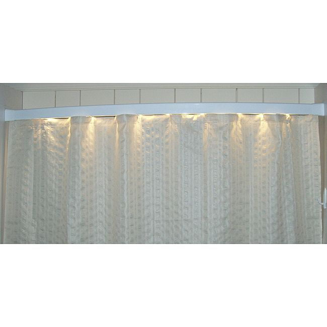 This aluminum-alloy modern shower curtain rod with slight bowing is the ultimate in modern bathroom design, featuring a white light bar for your shower area. Serving double duty as a nightlight, the bar gives off a gentle, non-jarring illumination.
