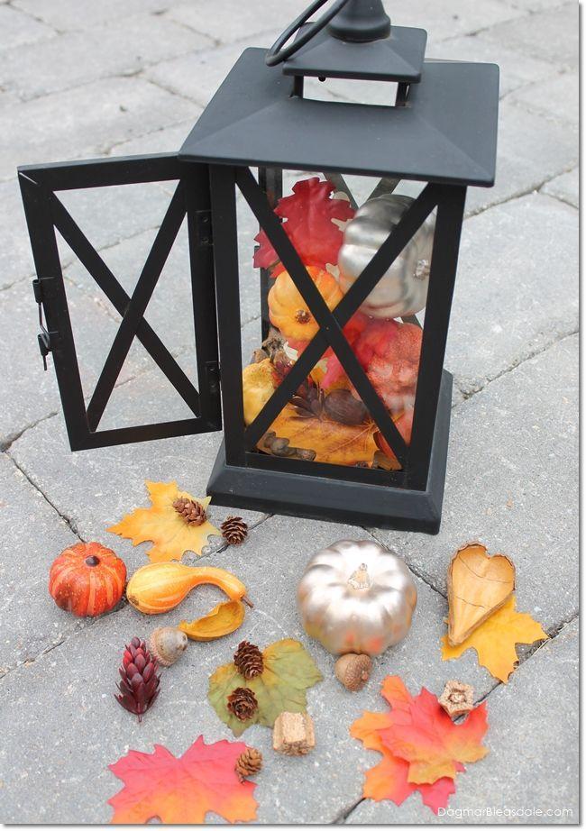 simple diy fall decor fill lanterns with fake pumpkins fall
