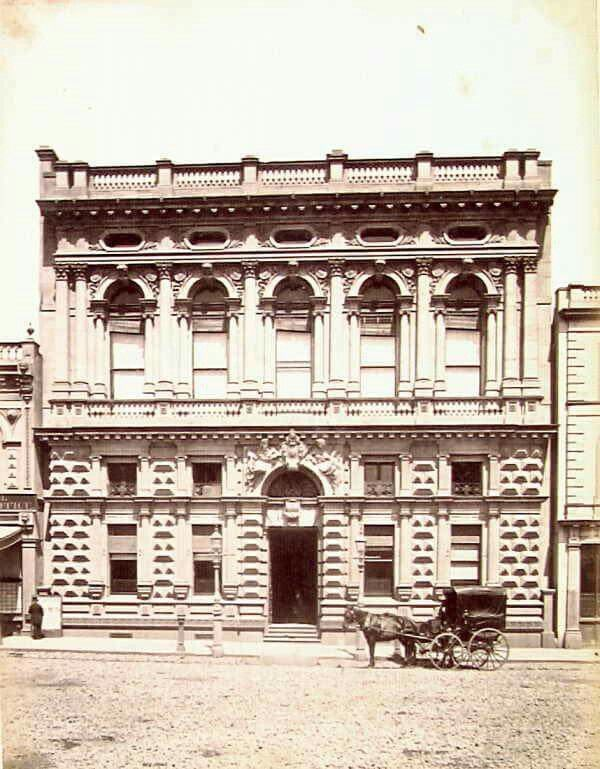 Bank of Victoria on Collins St, Melbourne in 1870.