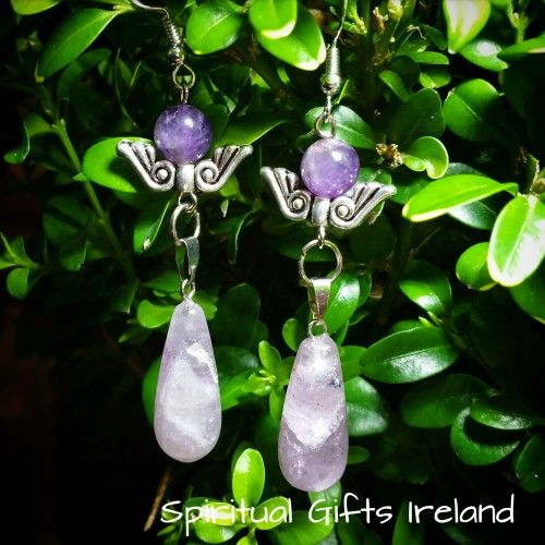 Handmade Angel Wings Amethyst Earrings  💜Amethyst is the stone of spirituality and peace of mind.  Its striking purple colour evokes feelings of calmness and contentment. 🌌 It works on your emotional and spirituals planes to provide a sense of balance, peace and inner strength. 🍥 These Angel Wing Amethyst Earrings are handmade here at Spiritual Gifts Ireland. 👐 Angels are divine messengers sent to help us on our Spiritual journey, they are gifts from God. 🌌  You were created in divine…