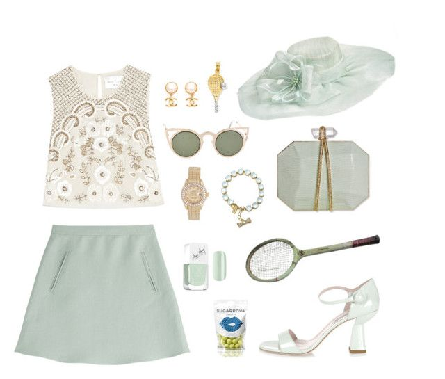 """Wimbledon Open"" by kezziahesteban ❤ liked on Polyvore featuring Valentino, Nordstrom, Needle & Thread, Betsey Johnson, Charlotte Olympia, Miu Miu, Kate Spade, Chanel, Rolex and Formula X"