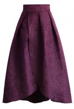 Tulip Fairy Embossed Midi Skirt in Plum - Retro, Indie and Unique Fashion