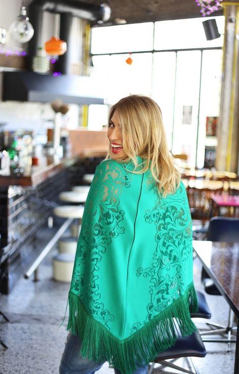 Maria Iliaki in green poncho by Eclectic Soiree @ Panos Kallitsis Salon