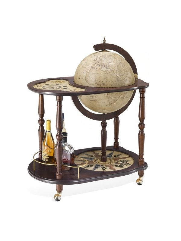 Add A Touch Of Worldly Appeal To Your Scheme With This Antique Effect Globe  Bar Trolley, Featuring An Underneath Shelf And Wheelable Design.