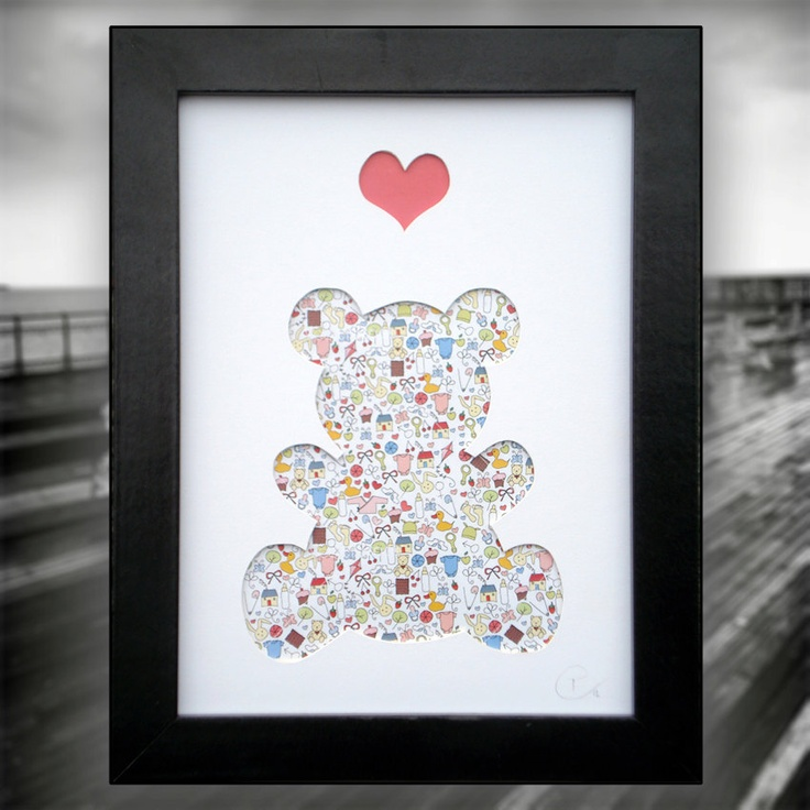 Snuggles - Framed Hand Crafted Art Picture, Teddy Bear with Heart, 3D home décor. Ideal gift for a christening, new born & birthday.. £25.00, via Etsy.