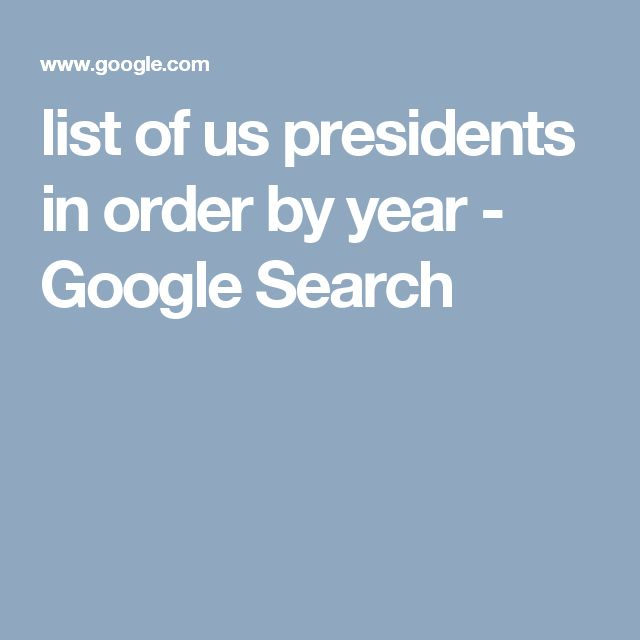 list of us presidents in order by year - Google Search