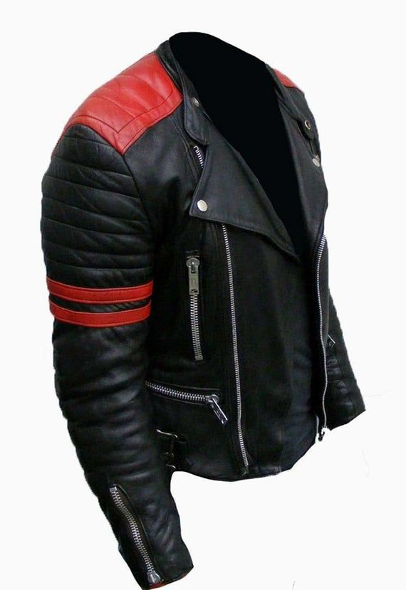 Mens Biker Slim Fitted Classic Retro Black Synthetic Leather Brando Biker Jacket