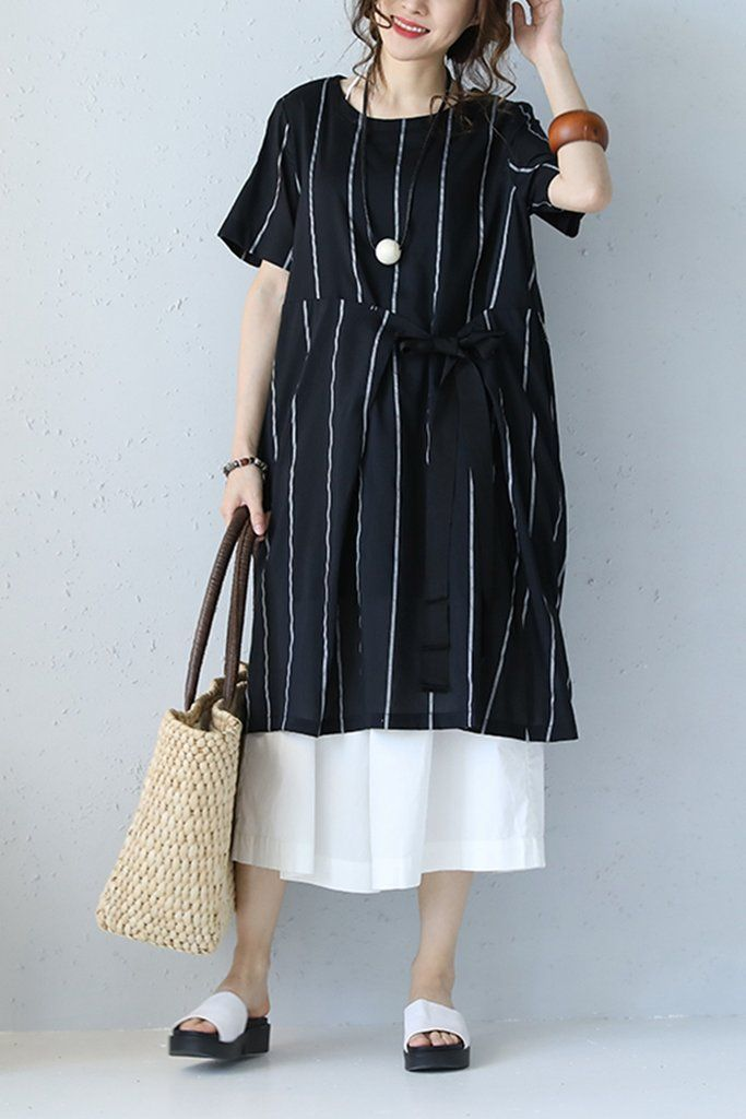 84a944ad061c Korean Style Striped Black Cotton Silk Dress Women Loose Clothes Q1072