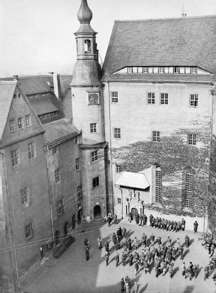 The prisoners courtyard. Oflag IVC Prisoner of War camp, Colditz Castle, WW2