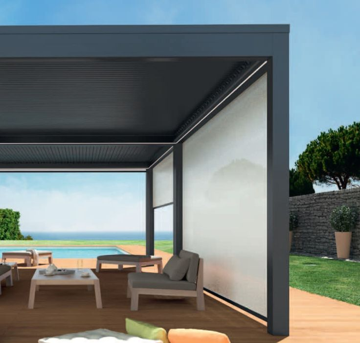 pergola bioclimatique orientable et r tractable pergoklim protections solaires portail et. Black Bedroom Furniture Sets. Home Design Ideas