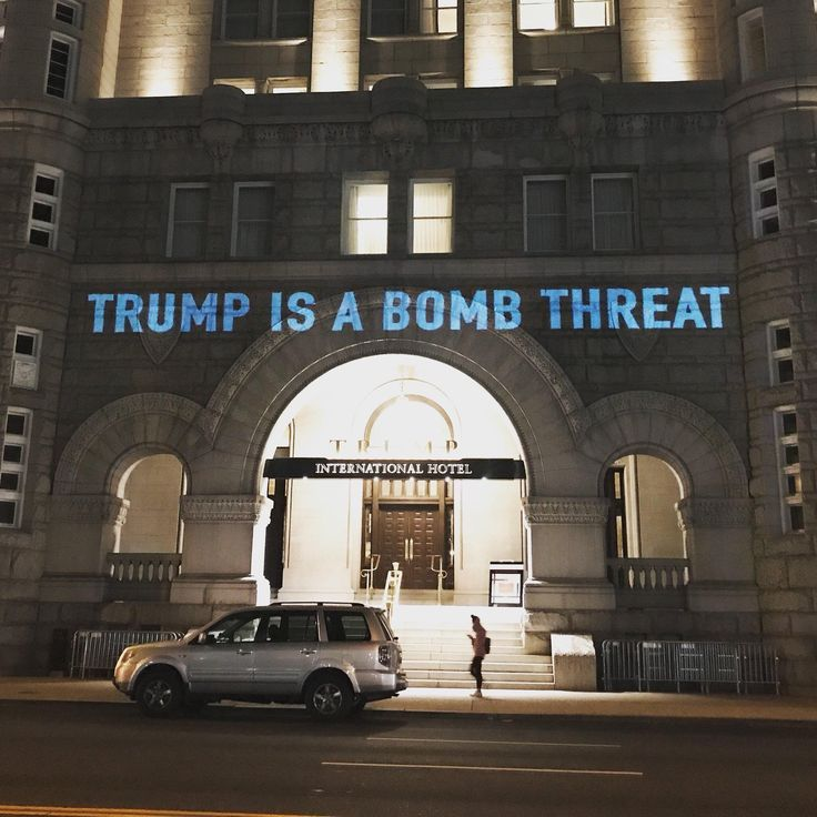 Projection displayed across one of Donald Trumps Hotels - September 24th 2017