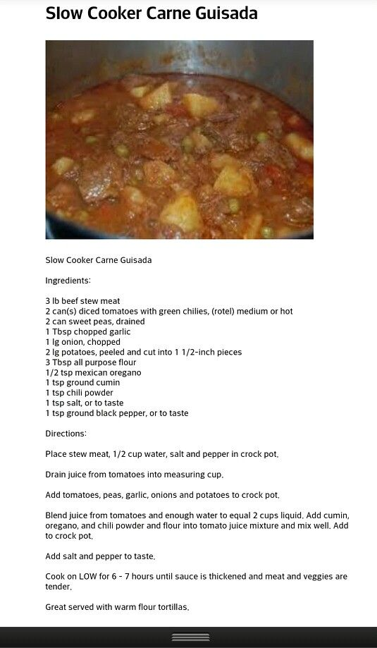 Crock Pot Carne Guisada