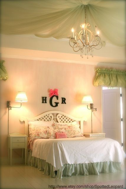 Moss Covered Nursey Wall initials letters Monogram Small with Ribbon