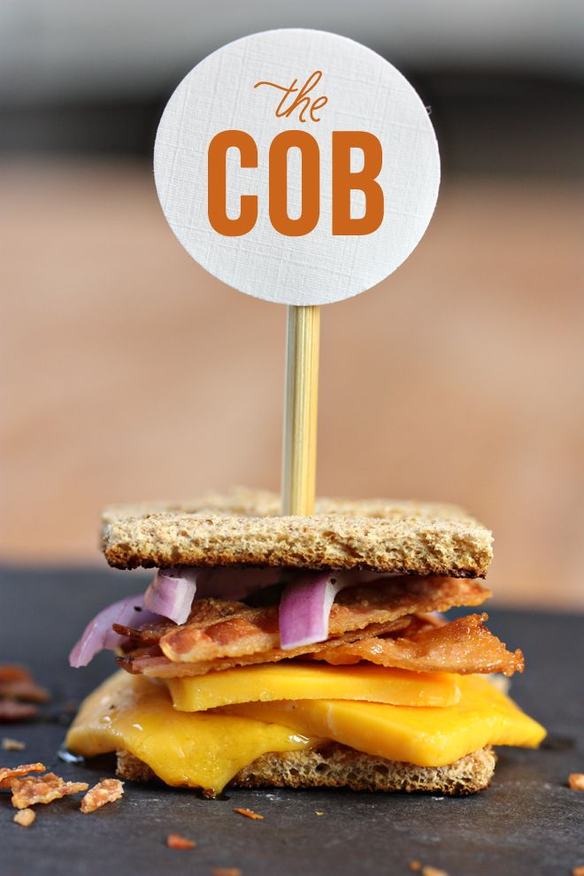 "The ""COB"" grilled cheese, a gourmet mini party food by pizzazzerie.com #recipe #grilled #cheese"