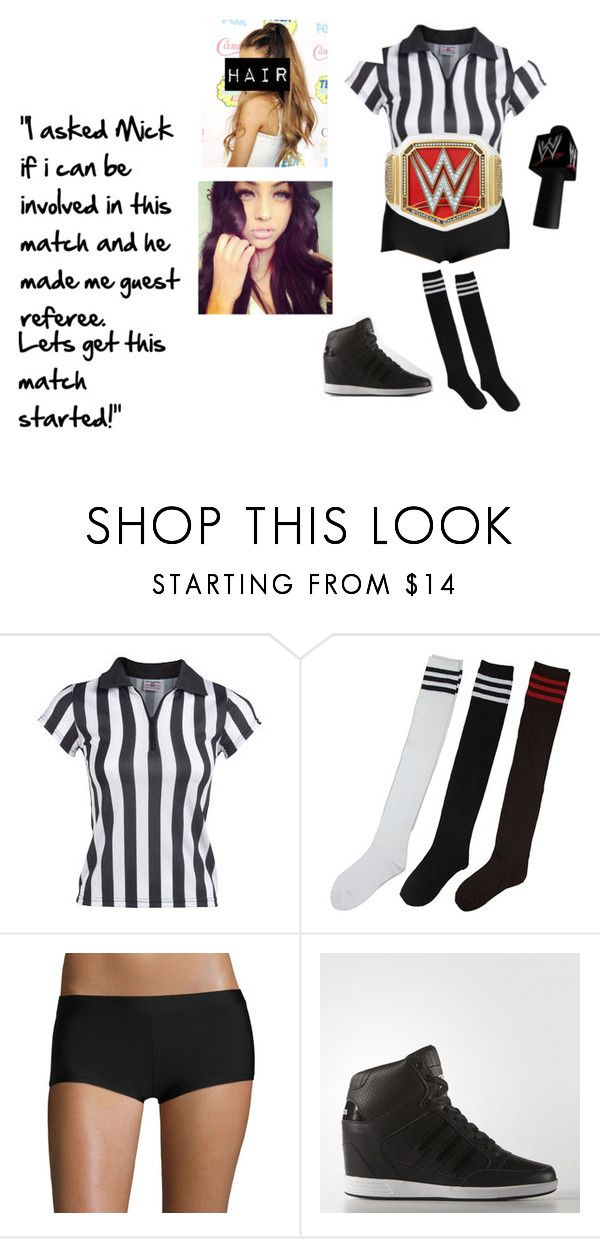 """Bobbi  - Guest Referee for Bayley & Sasha Banks vs Charlotte & Dana Brooks"" by lsd-and-halloweencandy ❤ liked on Polyvore featuring Arizona and adidas"