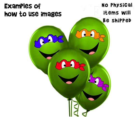 Ninja Turtles Balloon Eyes and Mouth, TMNT, Use on Balloons and Plates, Ninja Turtle Birthday, Ninja Party Printables. via Etsy.
