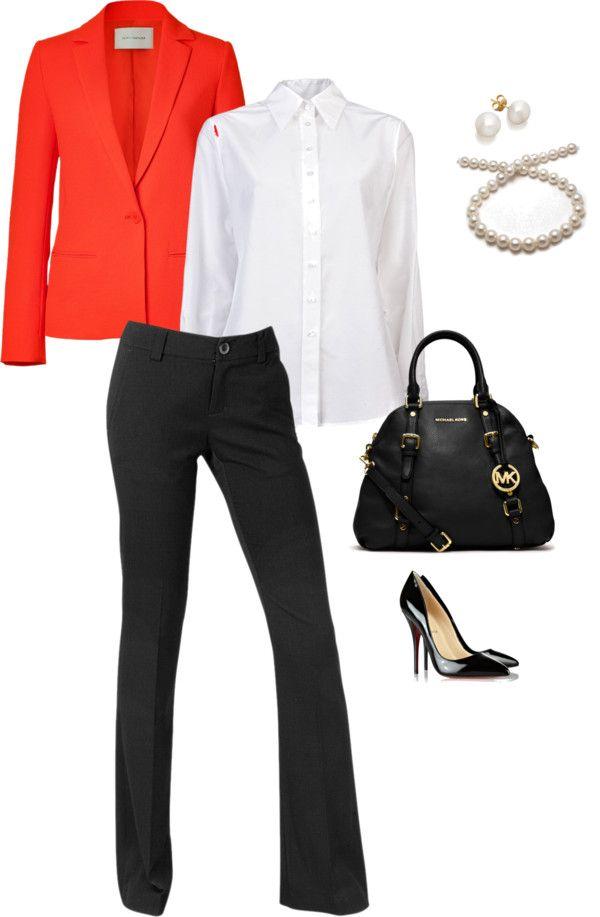"""Orange Blazer Work Outfit 1"" by lizziemg on Polyvore"