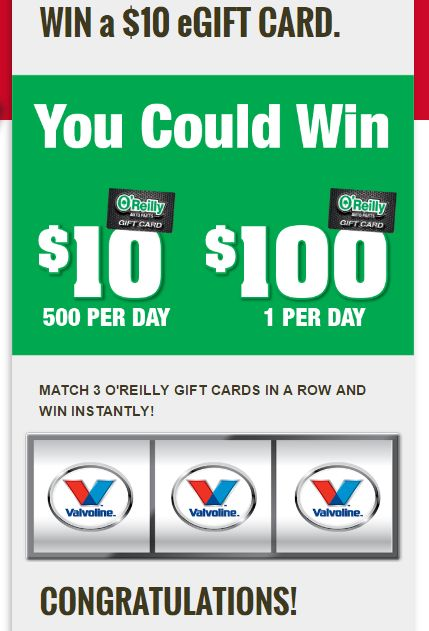 O'Reilly Auto Parts Instant Win 14,000+ Winners. I just won. :) http://www.freebiequeen13.net/oreilly-auto-parts-instant-win.html