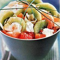 Salade de crevettes et kiwis