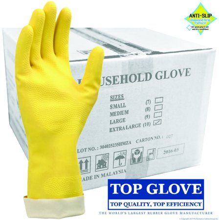 Top Glove Flock-Lined Latex Household Gloves, HHG10-XL-CS (Case of 144 pairs)