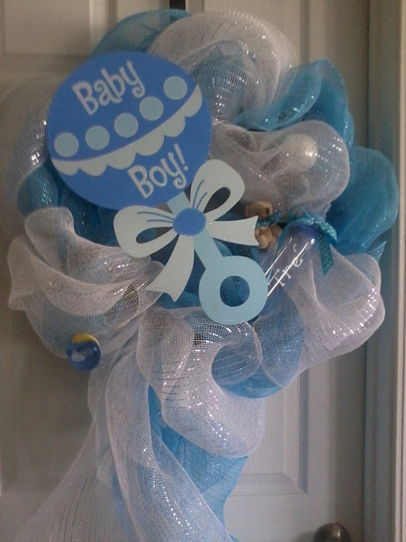 Baby+Boy+or+Girl+WreathDeco+Mesh+with+by+SouthernPizazWreaths,+$55.00