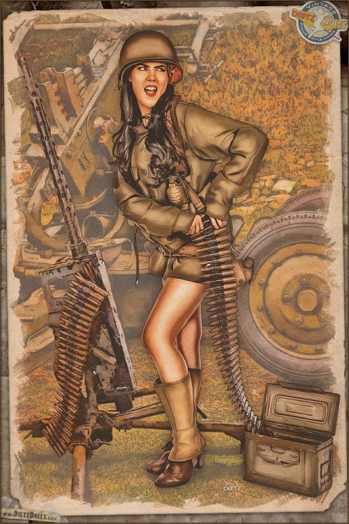 Vandaag & rsquo; s airbrush stijl pinup foto is voorzien van Stilletta in deze Amerikaanse leger Pinup.  Terwijl onder vuur, Stilletta is met spoed naar het dichtstbijzijnde .50 kaliber pistool terug te vuren alleen te vinden is het bijna geen munitie.  Grijpen de dichtstbijzijnde munitie doos met kogels, ze al snel lost de kogels te voeden in de machine en geven de vijand een voorproefje van haar woede!  Als je & rsquo; D graag een print of poster van deze pinup met Stilletta of veel meer…