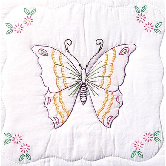 "Stamped White Quilt Blocks 18""X18"" 6/Pkg-Butterfly"