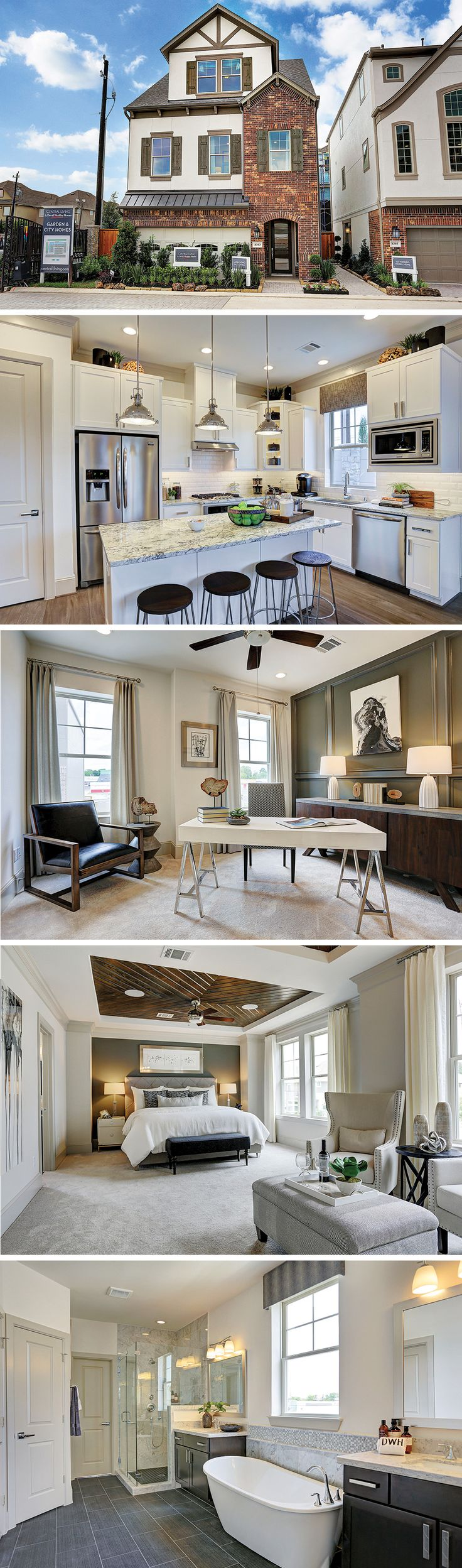 The Chervais by David Weekley Homes in Village at Spring Branch is a 4 bedroom, 3 bathroom home that features an open kitchen and family room layout, a 2 car garage and beautiful tray ceilings. The luxurious owners bath features a beautiful soaking tub with two large walk-in closets.